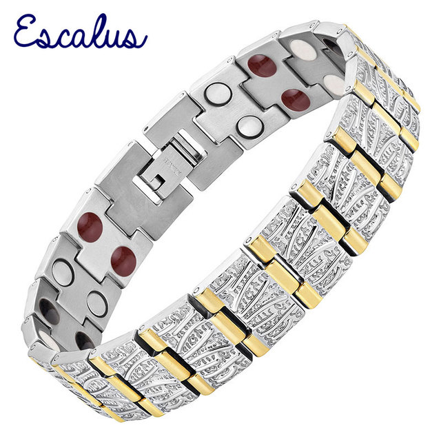 Escalus Charm Titanium Men Bracelet 4in1 Silver Color Magnetic Magnets -ve Ions Germanium Bracelets fashion Bangle Wristband