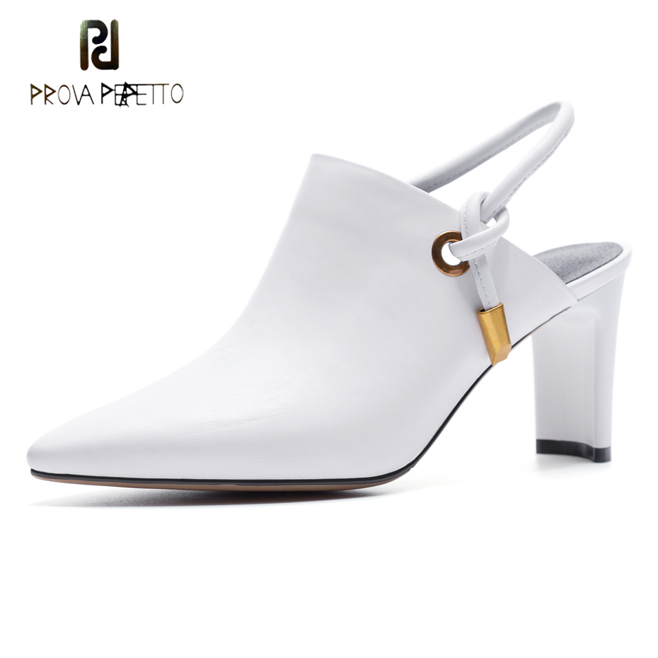 Prova Perfetto fashion genuine leather pointed toe slingback shoes women sandals elegant lady chunky heel back strap women pumps mini dial air vacuum pressure gauge meter manometer with double scale