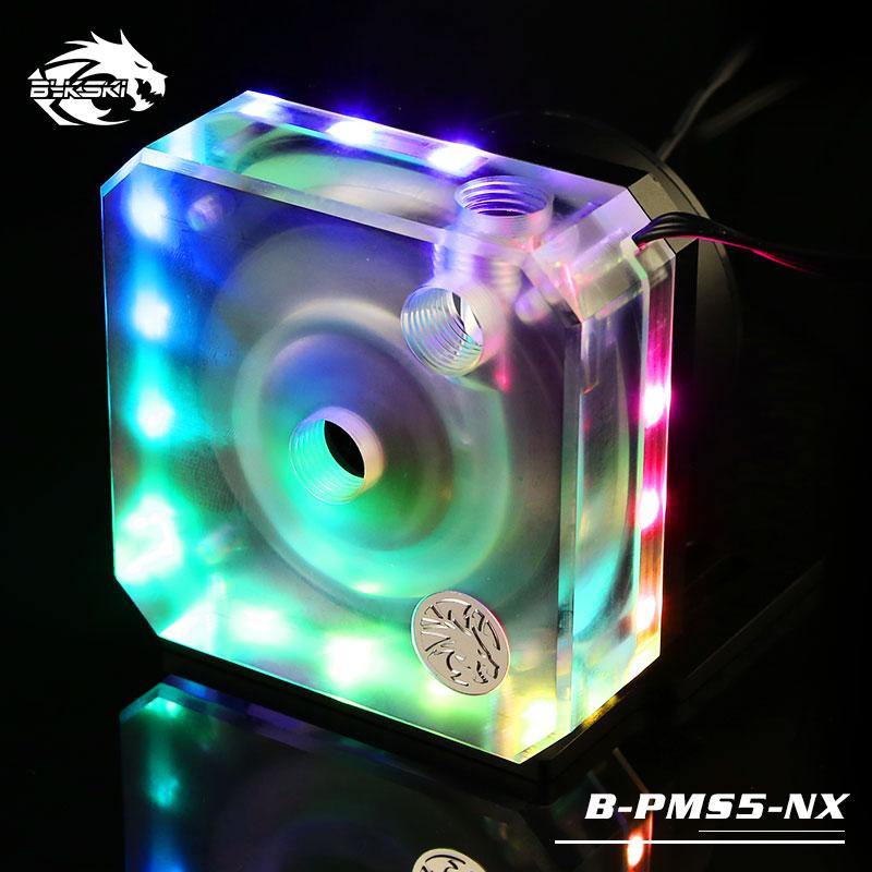Bykski B-PMS5-NX pompe de refroidissement à eau contrôle automatique moteur vitesse pour bricolage coque d'ordinateur 10 ~ 15 v rgb éclairage avec contrôleur D5