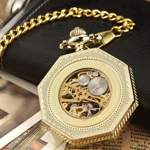Image 3 - Luxury Unique Hexagonal Roman Number Pocket Watch with FOB Chain Steampunk Full Steel Mechanical Hand winding Gold Pocket Watch
