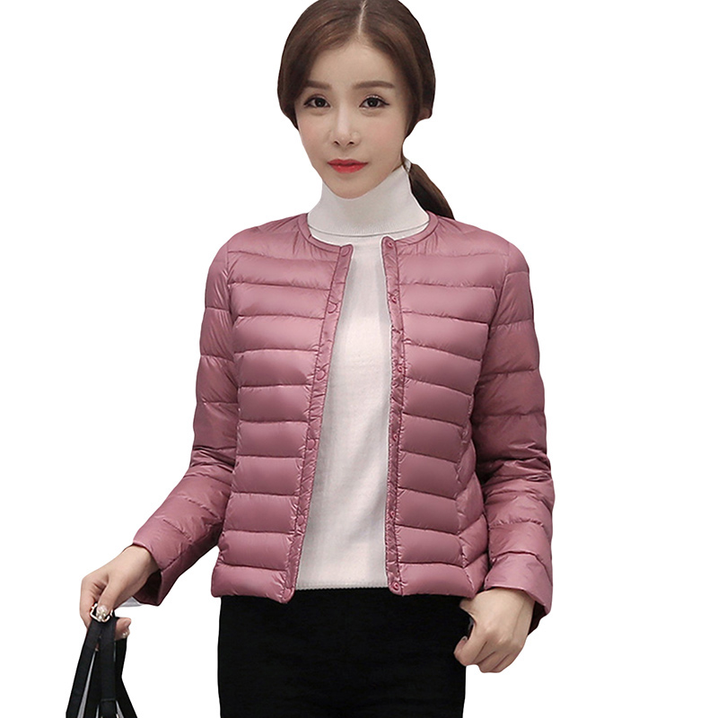 Spring Autumn Winter Korean Light Thin Short   Down   Jacket Female Slim Round Neck Warm Button White Duck   Down     Coats   YP0856
