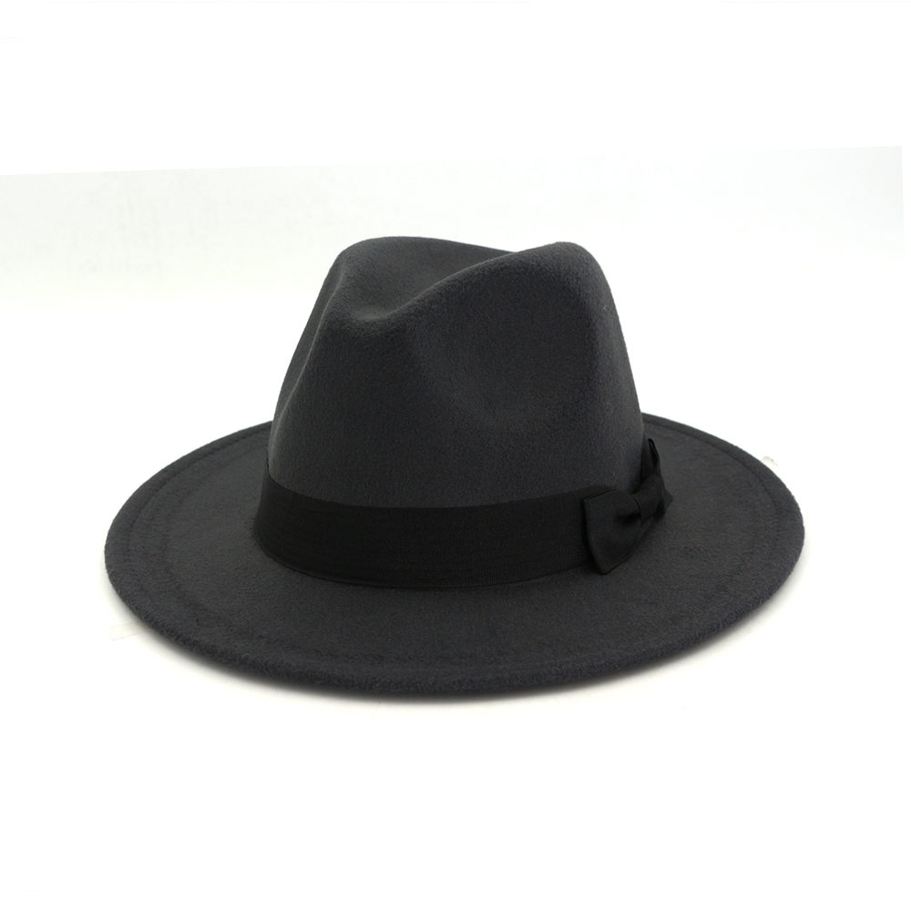 322bac7bdf6 ... Winter Elegant Women Felt Solid Fedora Hat With Bowknot Band Wide Flat  Brim Jazz Hats Stylish ...