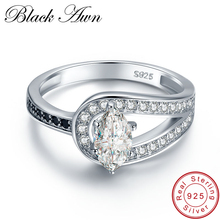 [BLACK AWN] Wedding Rings for Women 2.6g Solid 925 Sterling Silver Jewelry Black Stone Zircon Engagement Ring Bague C405