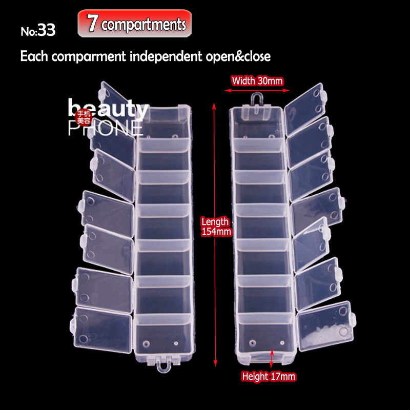 DIY Box Storage 7 Compartments For Nail Art Jewelry Accessory Beads Crafts , Portable Organizer Container Case