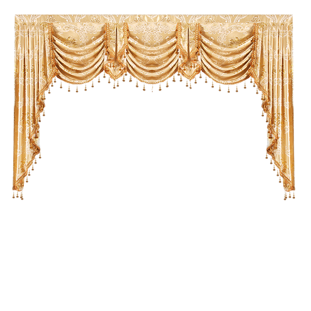 Valance Lambrequin Swag European Royal Luxury Curtains For Living Room Window Bedroom Kitchen Gold