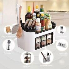 цена на Hot Multi-function Household Seasoning Storage Box Large Capacity Cutter Holder Kitchen Supplies FQ-ing
