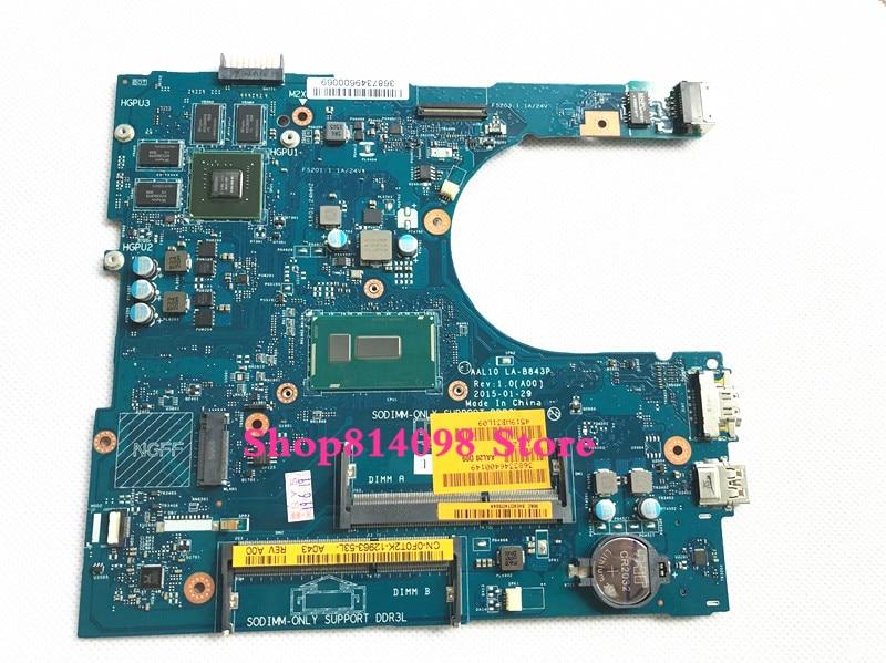 CN 0F0T2K F0T2K подходит для Dell INSPIRON 5458 5558 5758 серии Материнская плата ноутбука AAL10 LA B843P REV: 1,0 (A00) 3205U материнская плата