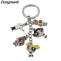 20pcs/lot DMLSKY Anime The Powerpuff Girls Figures Key Chain Blossom Professor Utonium Keyring Round Trinkets Keychain M494
