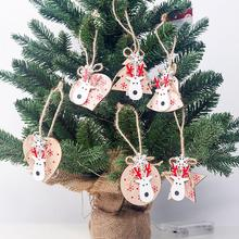 6 Pcs SetNew Hanging Tips Great Christmas Wooden Moose Head Pendants Ornaments Home Decoration For Tree