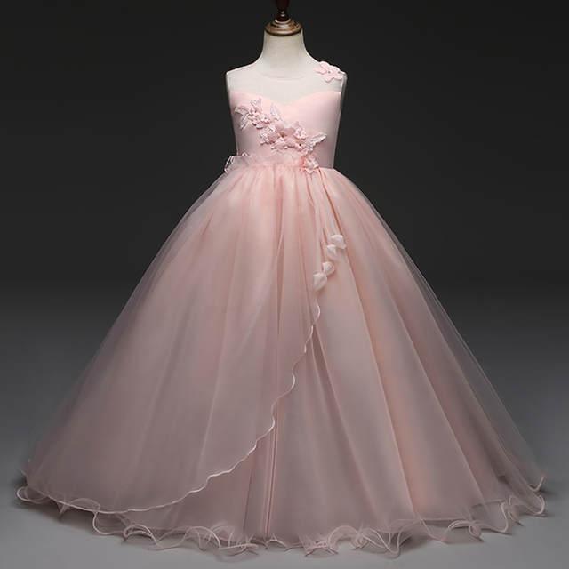 6-14y girl dress ceremony 2018 summer sleeveless princess dress teenagers  girls school prom gowns b03da945415b