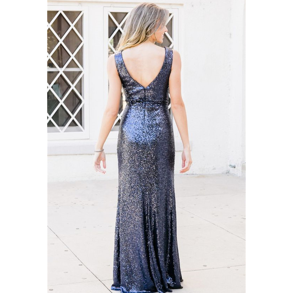 Navy Blue Sequin   Bridesmaid     Dresses   2019 V Neck Sleeveless Floor Length Long   Bridesmaid   Party   Dress   Cheap Robe De Soiree