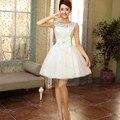 Короткие Платья Выпускного Вечера 2015 Sleevesless Вечернее Платье специальный платья Короткие Кружева Пром Платья Красный Шампанское