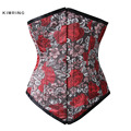 Kimring Dobby Waist Trainer Corset Women Gothic Plus Size Floral Embroidery Underbust Corset Steel Boned Satin Bustiers Corselet