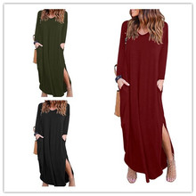 S-3XL women v neck long sleeeve maxi dress autumn spring casual leisure loose pure color split plus size