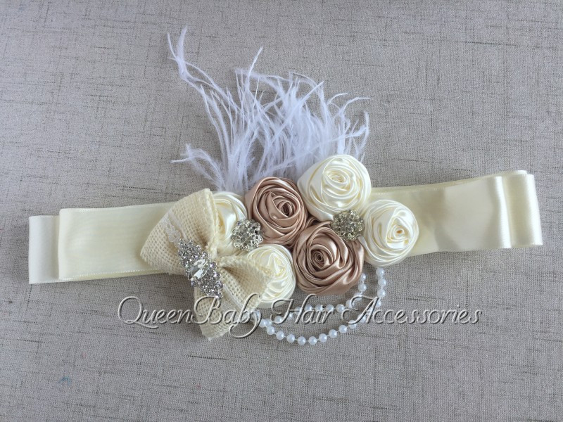 5pcs/lot  Ivory Satin Rosette Matching Sparking Rhinestone Flower Sash Burlaps Bow Sash Belt  Maternity Sash-in Hair Accessories from Mother & Kids    1