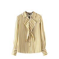 Blouse Top Tees Women Sweet Ruffles Striped Shirts Long Sleeves Collar Shape Pleated Blouses Ladies Office