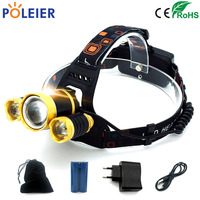 4000 Lumens Rechargeable LED Headlamp 3T6 Head Flashlight Torch Cree Chip Xml T6 Headlight Waterproof Lights