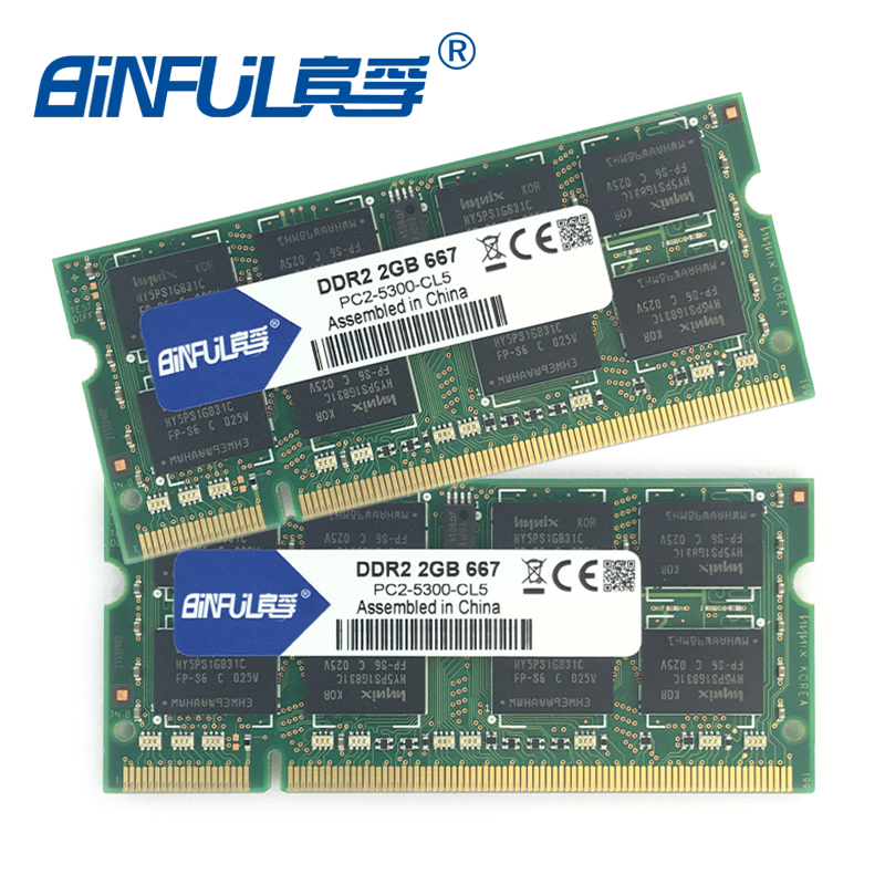 Binful Original New Brand DDR2 PC2-5300 667mhz PC2-6400 800mhz 4GB(Kit of 2,2X 2GB for Dual Channel) Memory Ram Laptop Notebook