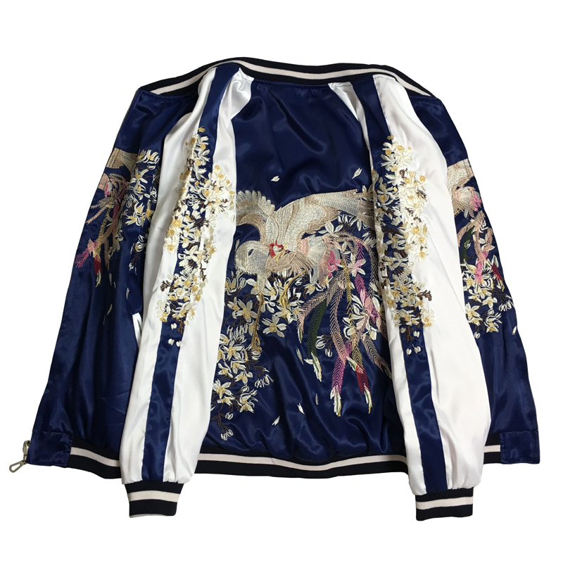 Printemps Automne Nouveau Deux Côtés Portent veste brodée de Femmes et Hommes de Yokohama Phoenix Double-face Portant Satin Volant vestes