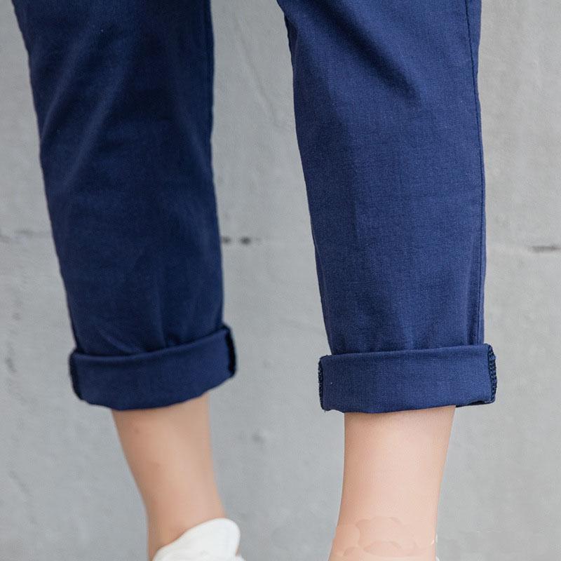 New Women Casual Harajuku Spring Autumn Long Trousers Solid Elastic Waist Cotton Linen Pants 21