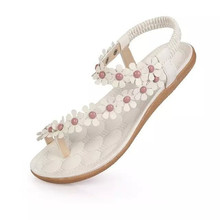 2016 Women's shoes woman sandals Bohemia summer sandal shoes pinch the new clip toe flowers flat han edition with beach shoes