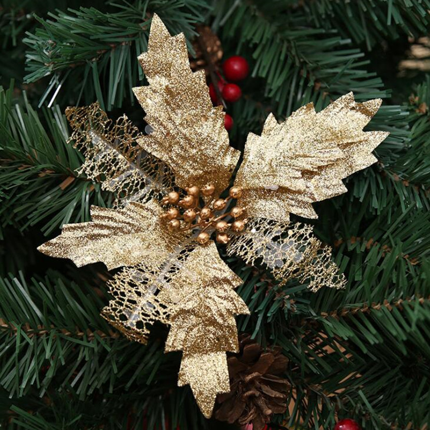 Us 3 14 4pcs Xmas Christmas Tree Decorations Red Blue Pink Gold Glitter Christmas Artificial Flowers Wedding Wreaths Ornaments 30 Off In Artificial