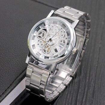 2018 New Fashion Quartz watch Men  Brand Stainless steel Watch transparent Hollow Watches Imitation Mechanical Clock watches