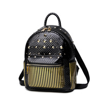 Black Stripes Women Ladies Pu Spliced Backpack Korean Preppy Style Leather Back Packs With Adjustable Straps