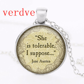 Austen Quote Necklace, She is tolerable, I suppose Charm Necklace, Austen Jewelry, Your Choice of Finish image
