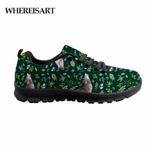 Купить с кэшбэком WHEREISART Wolf Shoes Comfortable Causal Flats Men Shoes Animals The Wild Wolf and Foliage Sneakers Men Light Breathable Shoes