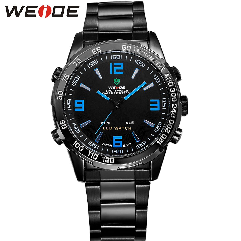 WEIDE Brand Men Quartz Watch Analog-Digital Display Stainless Steel Band LED Date Alarm Luxury New Waterproof Watches For Men skmei luxury brand stainless steel strap analog display date moon phase men s quartz watch casual watch waterproof men watches