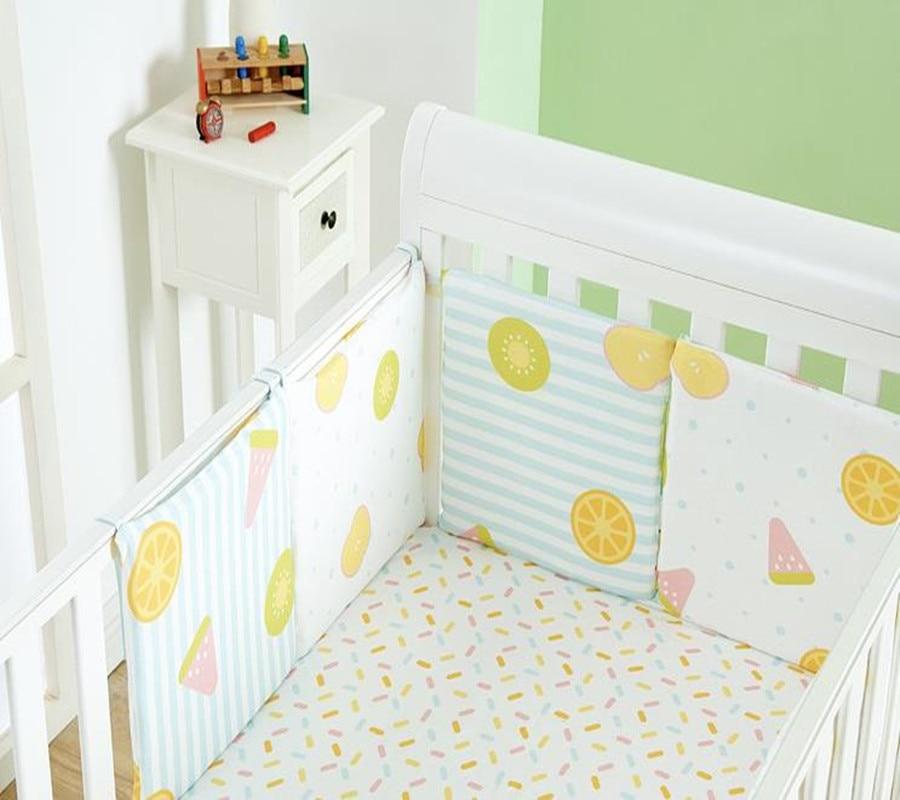 6Pcs/Set Baby Bed Bumpers Crib Knit Cotton Cartoon Pattern Kid Cushion Baby Chair Cushion Infant Bumper Newborns Bed Bedding Set