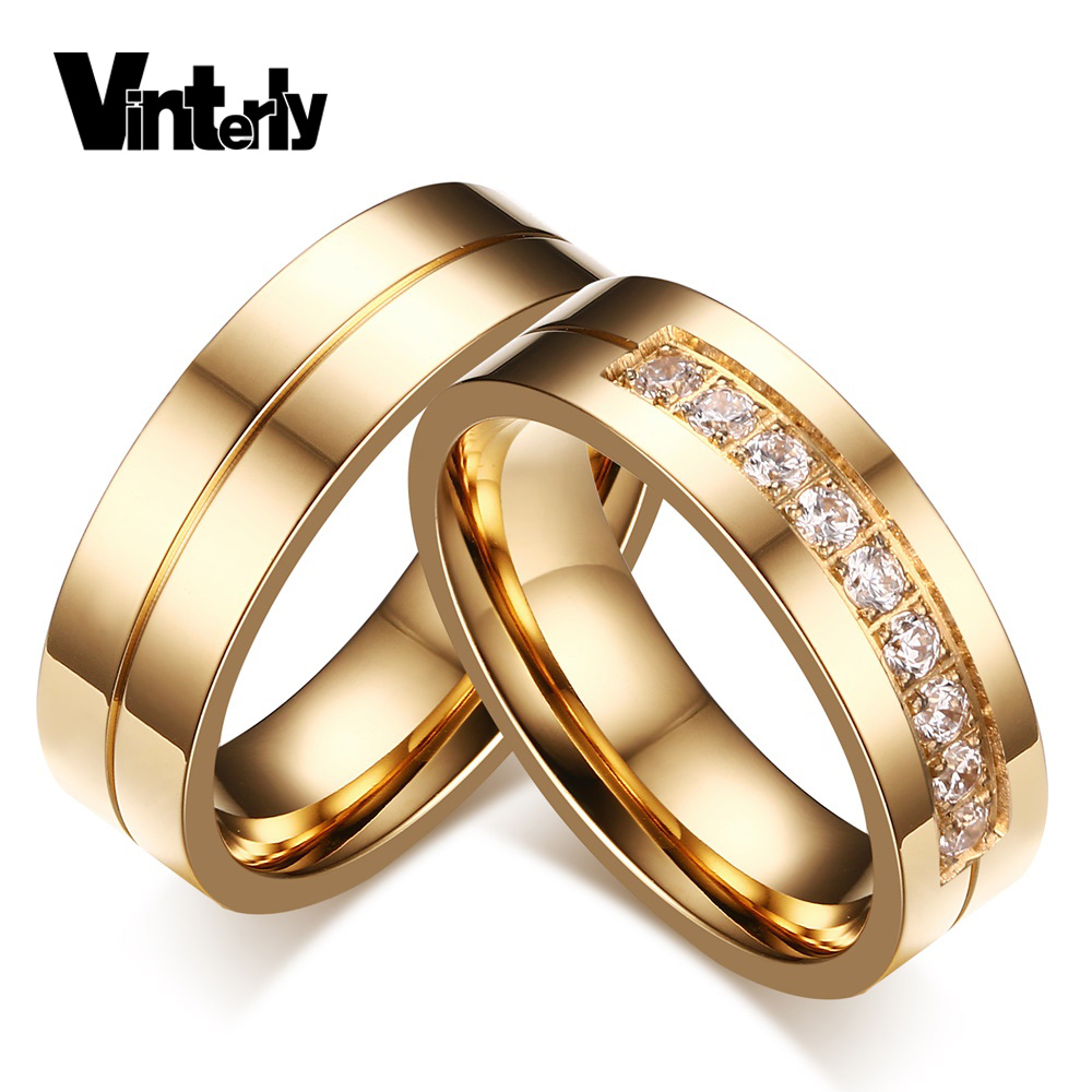 Vinterly Couple Gold Color Aaa Cz Stone Wedding Bands Rings Stainless Steel  Jewelry Engagement Ring For Men Women