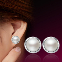 Silver White Color Simple Imitation Pearl Ball Style Stud Earrings for Women Simple Half Round Imitation Pearl Earrings reticulated round silver earrings simple style earrings