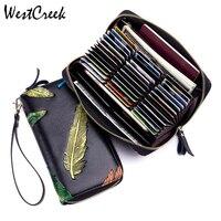 WESTCREEK Brand Minimalist Leather Women RFID Long Organ Wallets Business Card Holder Zipper Pocket Coin Purse Wrist Clutch Bag