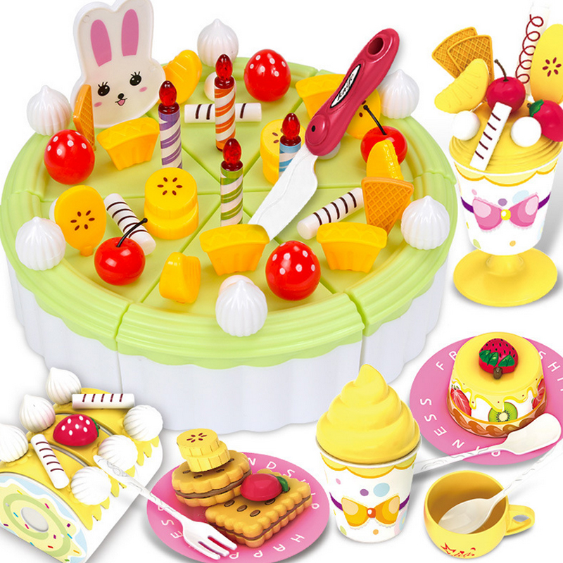 12 Types New Kitchen Toys Pretend Play Cutting Birthday Cake Food Toy Tableware Cocina Juguetes Plastic Play Food Tea Set Gift birthday cake