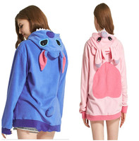 HKSNG Spring Women Stitch Hoodies Plus Size Warm Fleece Blue Pink Stitch Animal Sweatshirt With Ear