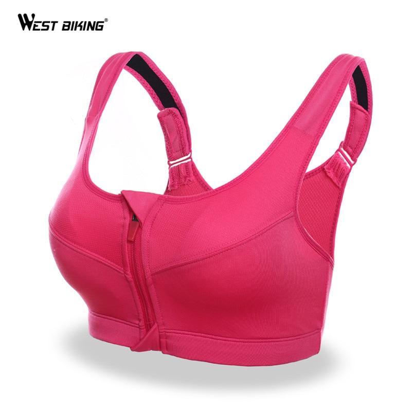 WEST BIKING Front Zipper Removable Pads Fitness Sports Bra Women's Cycling Walking Yoga Bra Comfort Top High Impact Bras