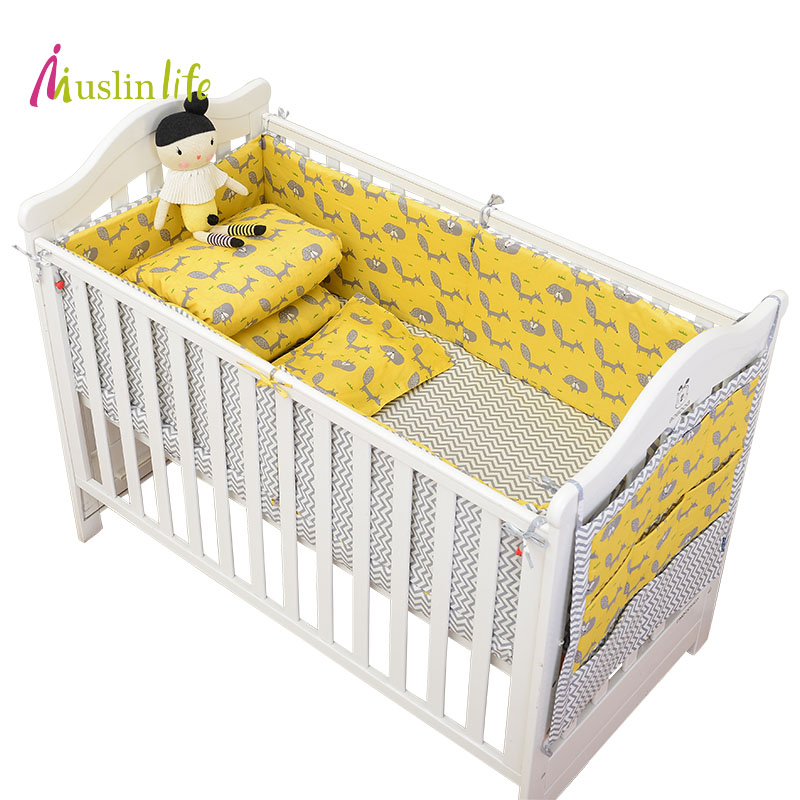 Muslinlife Newfashion Yellow Fox  Baby Crib bumper,Cotton Protector Baby Nursery Bed Bumpers (Options for 1pcs/set - 7pcs/set )