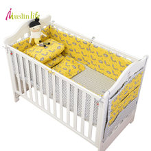 Muslinlife Newfashion Yellow Fox Baby Crib bumper,Cotton Protector Baby Nursery Bed Bumpers (Options for 1pcs/set - 7pcs/set )(China)