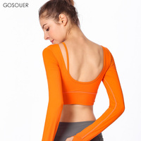 New Autumn Winter U Shape Back Tshirts Long Sleeves Backless Back belt Sport Tops Fitness Dancing Sweatshirts Yoga Crop Shirts