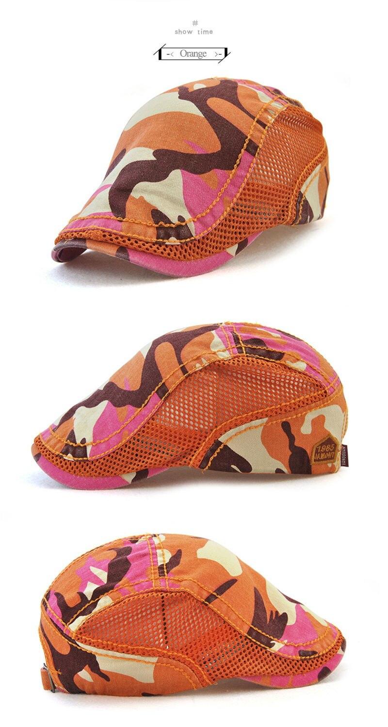 Sombrero boina de verano de marca para hombres mujeres camuflaje  transpirable red Visors gorra plana 0a6e4a13763