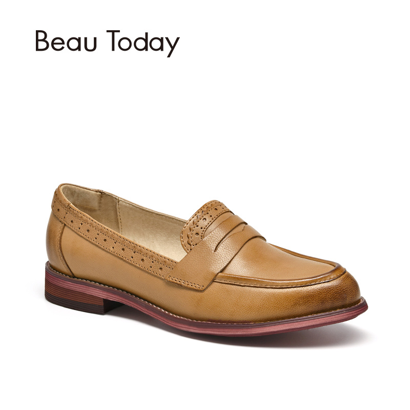 BeauToday Penny Loafers Women Sheepskin Moccasin Genuine Leather Slip On Pointed Toe Flats Plus Size Shoes Handmade 27013 odetina 2017 new women pointed metal toe loafers women ballerina flats black ladies slip on flats plus size spring casual shoes