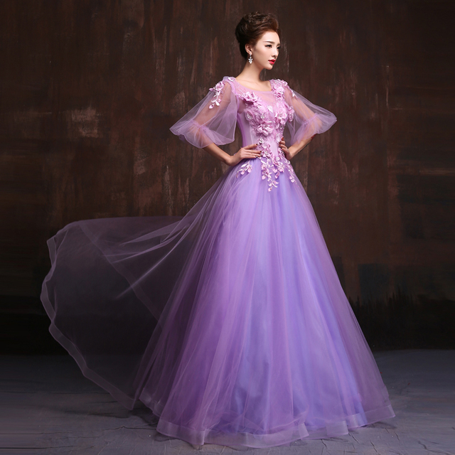 bcb64db373 Gorgeous Puffy Sleeves Lilac Prom Dresses Long Tulle Prom Dress 2019  Costume Banquet Evening Gowns Vestido De Festa Debutante