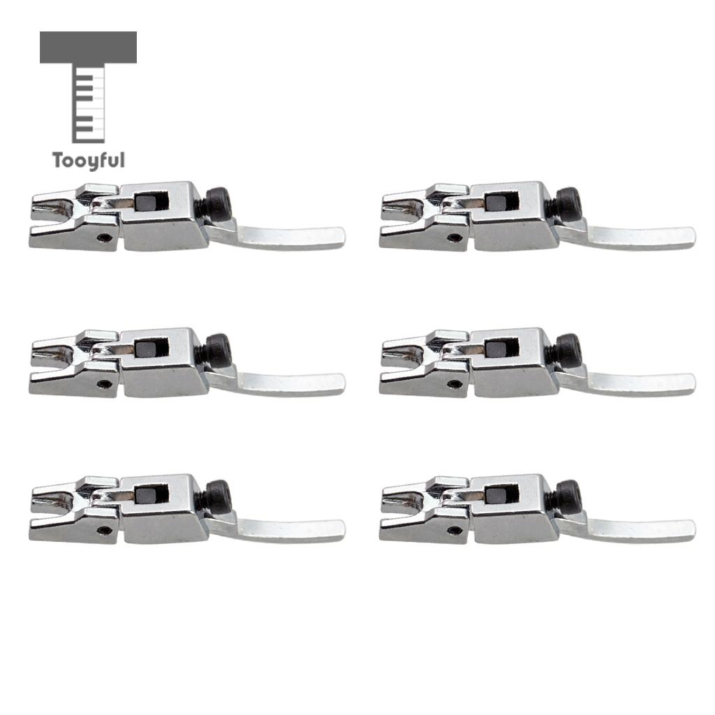 Tooyful 6 Pcs Tremolo Bridge Locked String Saddle for Electric Guitar Parts Silver new style 6 string saddle headless guitar bridge tailpiece with worm involved string device