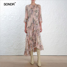 SONDR new spring and summer fashion o-neck one-piece long dress print vacation