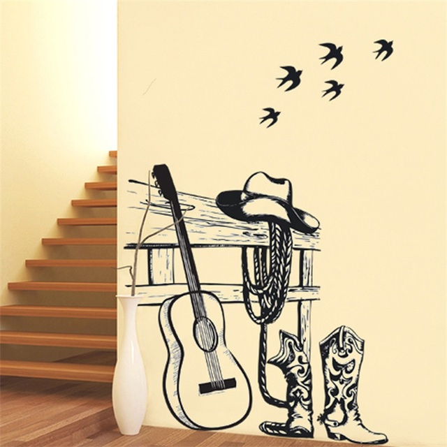 Creative Art Table Guitar Wall Stickers Home Decor DIY Musical Instrument Home Decorations Rock Music Wall Decals Living Room