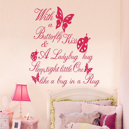 Bedroom Decoration Wall Pink Butterfly Wall Sticke Quotes Kids Baby ...