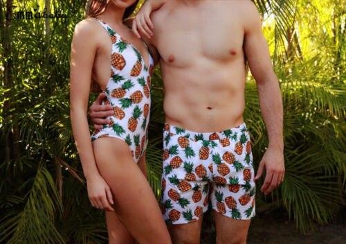 fec9a57cd6 New Style Women Man Couple Bikini & Shorts Fruits Print Bathing Suit  Backless Swimwear High Waist Swimsuit Beachwear Shorts