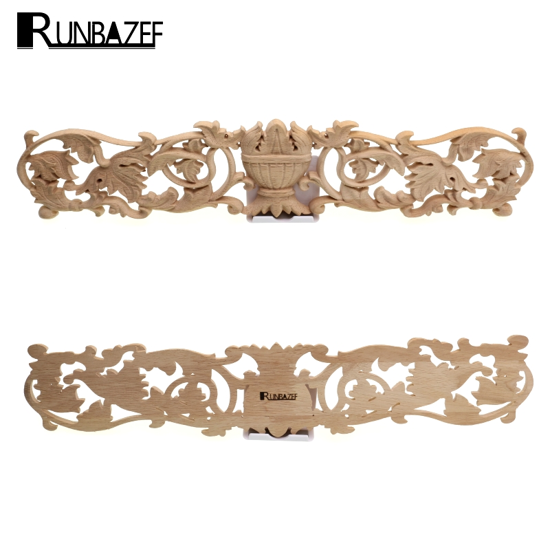 RUNBAZEF Solid Wood Applique Furniture Cabinet Head Style Flower Piece Background Wall D ...
